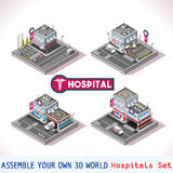 Game Set 15 Building Isometric. City Hospital Buildings and Landmarks Game Tiles Collection Clinic and Other Isometric 3d Urban Map Elements Set EPS 10 JPG JPEG Royalty Free Stock Image