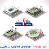 Stadium France Football Tiles. EURO 2016 France Stadium Football Icons. Bordeaux Atlantique Tienne Geoffroy Lens Bollaert Toulouse Municipal. Flat 3D City Map Stock Image