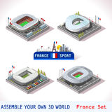 Game Set 17 Building Isometric. EURO 2016 France Stadium Football Icons. Nizza Allianz Villenueve Mauroy Marseille Velodrome Decines Charpieu Olympique. Flat 3D stock illustration