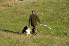Game shoot beater. Game shoot in Northumberland England stock photography
