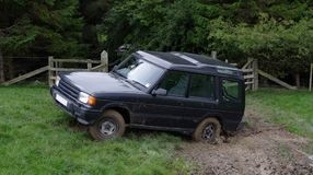 Game shoot stuck 4WD car. Game shoot in Northumberland England stock photo