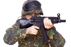 Game at the soldiers. One soldier with the gun in the hands on a white background Stock Images