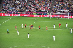 During the game between Spain and France Royalty Free Stock Photography