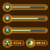 Game steampunk energy time progress bar icons set Royalty Free Stock Photography