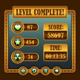 Game steampunk level complete icons. Buttons ui Royalty Free Stock Images