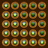 Game steampunk web rating stars set. Ui Royalty Free Stock Photography