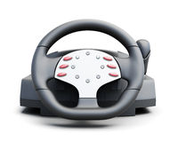 Game steering wheel front  on white background. 3d rende Stock Photo