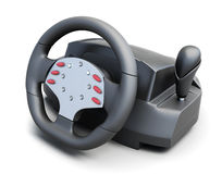Game steering wheel  on white background. 3d rendering Stock Photography