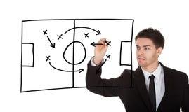 Game strategy on blackboard stock photos