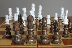 Game of Strategy in Progress on Chess board Stock Photography