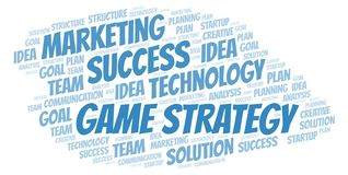 Game Strategy word cloud. Wordcloud made with text only royalty free illustration