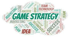 Game Strategy word cloud. Wordcloud made with text only stock illustration
