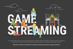 Game streaming concept illustration Stock Images