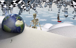 The Game. Surreal desert with chess figures. Globe and figure of man in a distance. Man flies with umbrella. Skeleton Stock Photography
