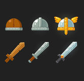 Game swords and helmets set Royalty Free Stock Photos