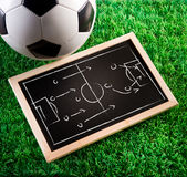 Game tactics. Blackboard with game tactics with soccer ball and green turf on background Stock Image