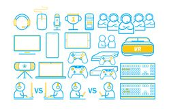 Game and technology Gaming entertain thin line icons set. Gaming entertain Game and technology thin line icons illustration royalty free illustration