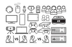 Game and technology line icons set. Entertain thin line icons illustration royalty free illustration