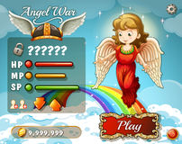 Game template with angel in the sky Royalty Free Stock Photography