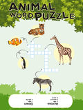 Game template for animal word puzzle with keys Stock Photos