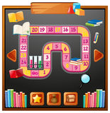 Game template with books and shcool items Royalty Free Stock Images