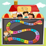 Game template with children and bakery Stock Image