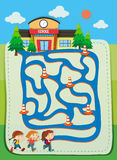 Game template with children going to school Stock Photos