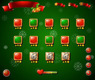 Game template with christmas theme in green Royalty Free Stock Images