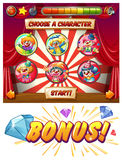 Game template with clowns as characters Royalty Free Stock Photography