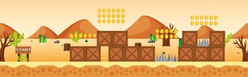 Game Template at Desert Scene stock illustration