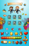 Game template with divers and sea animals Stock Photo