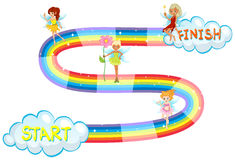 Game template with fairies flying on rainbow Stock Photo