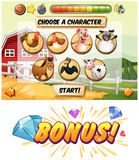 Game template with farm animal characters Royalty Free Stock Images