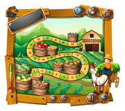 Game template with farmer and crops background Stock Photo