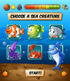Game template with fish in the sea. Illustration Royalty Free Stock Photos