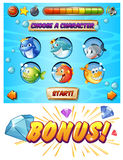 Game template with fish and shark characters. Illustration Stock Photos