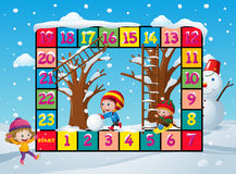 Game template with kids in snow Stock Photos