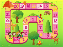 Game template with kids at the zoo. Illustration Royalty Free Stock Images
