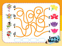 Game template for matching flower and fairies Stock Image