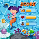 Game template with mermaid and fish in background. Illustration Stock Image