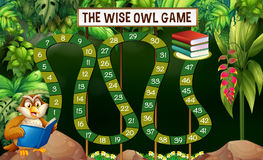 Game template with owl reading book in jungle. Illustration Stock Photo