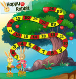 Game template with rabbits and apple tree Stock Images