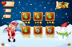Game template with reindeer and snowman Royalty Free Stock Image