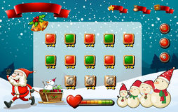 Game template with Santa and snowman Stock Images