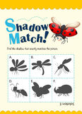 Game template for shadow matching bugs Stock Photo