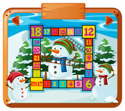 Game template with snowman and pine trees Stock Photo