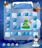 Game template with snowman and tree Royalty Free Stock Photography