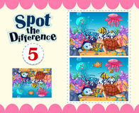 Game template of spot the difference underwater. Illustration Royalty Free Stock Photos