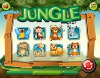 Game template with wild animals in jungle Stock Photos