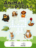 Game template for word puzzle animals Royalty Free Stock Images